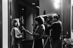 Connecticut Representative Nancy Johnson being interviewed during her first term in Congress (1983–1985).