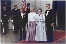 Queen Elizabeth and Prince Philip attend State Dinner in 1991