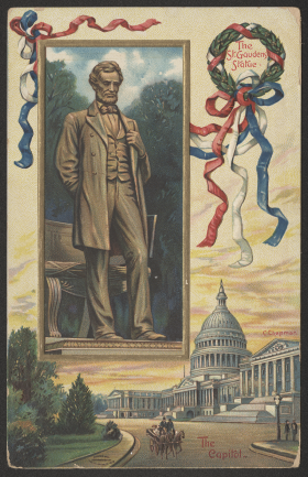 Postcard with the Capitol and a Statue of Abraham Lincoln
