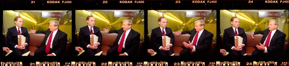 Filmstrip of Bud Shuster and Jack Schenendorf Riding the Rayburn Subway