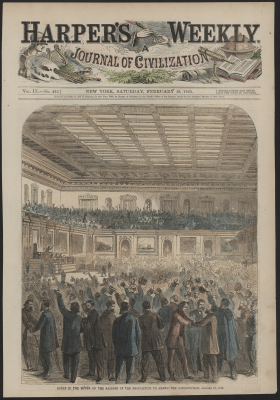 Scene in the House on the Passage of the Proposition to Amend the Constitution, January 31, 1865