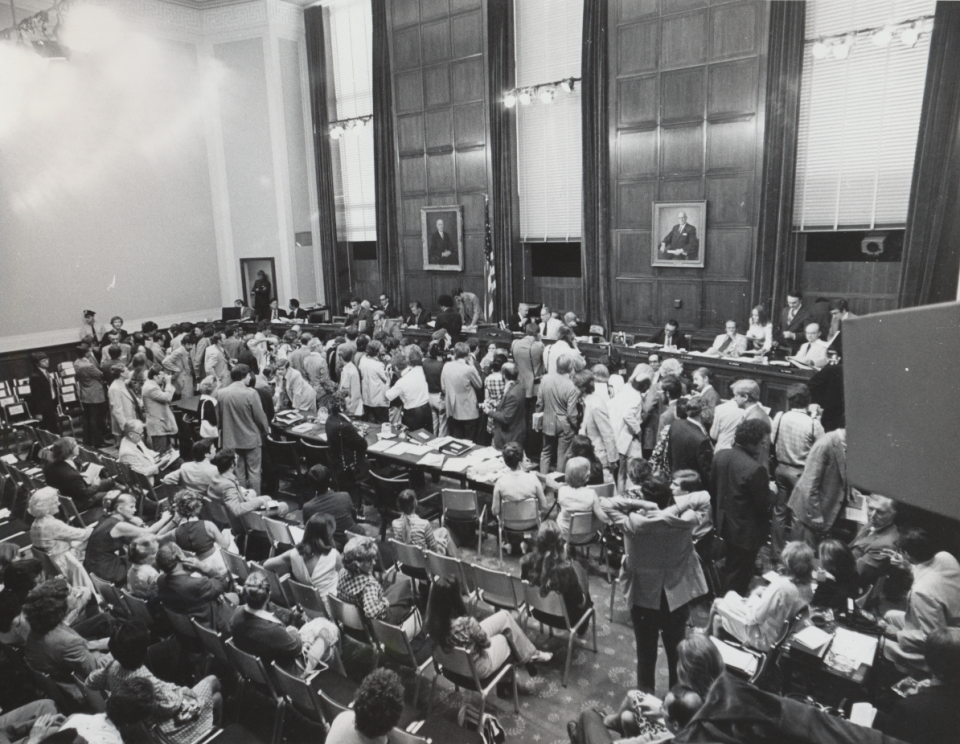 The Judiciary Committee Hearing Room during the Watergate hearings.