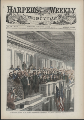 Harper's Weekly Cover Showing Galleries in the House Chamber