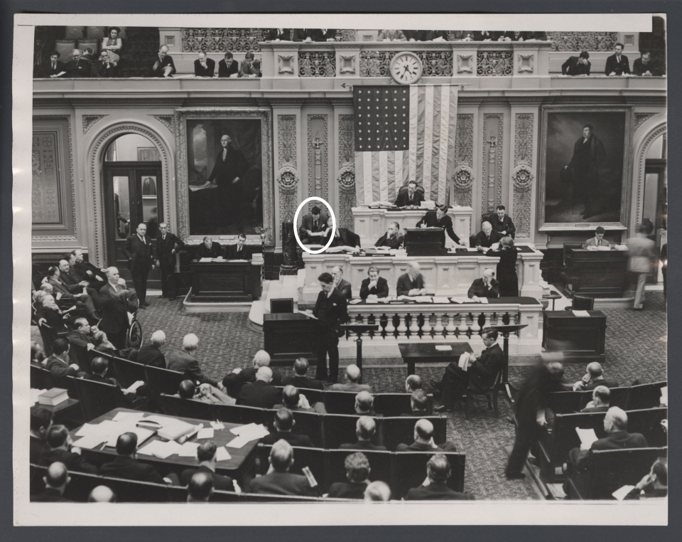 Lewis Deschler, Circled, During a Debate in the House Chamber