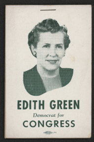 """Notepad cover with Green's image and """"Edith Green, Democrat for Congress"""""""