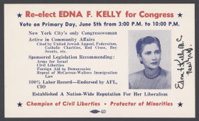 Ink blotter campaign material for re-electing Edna F. Kelly