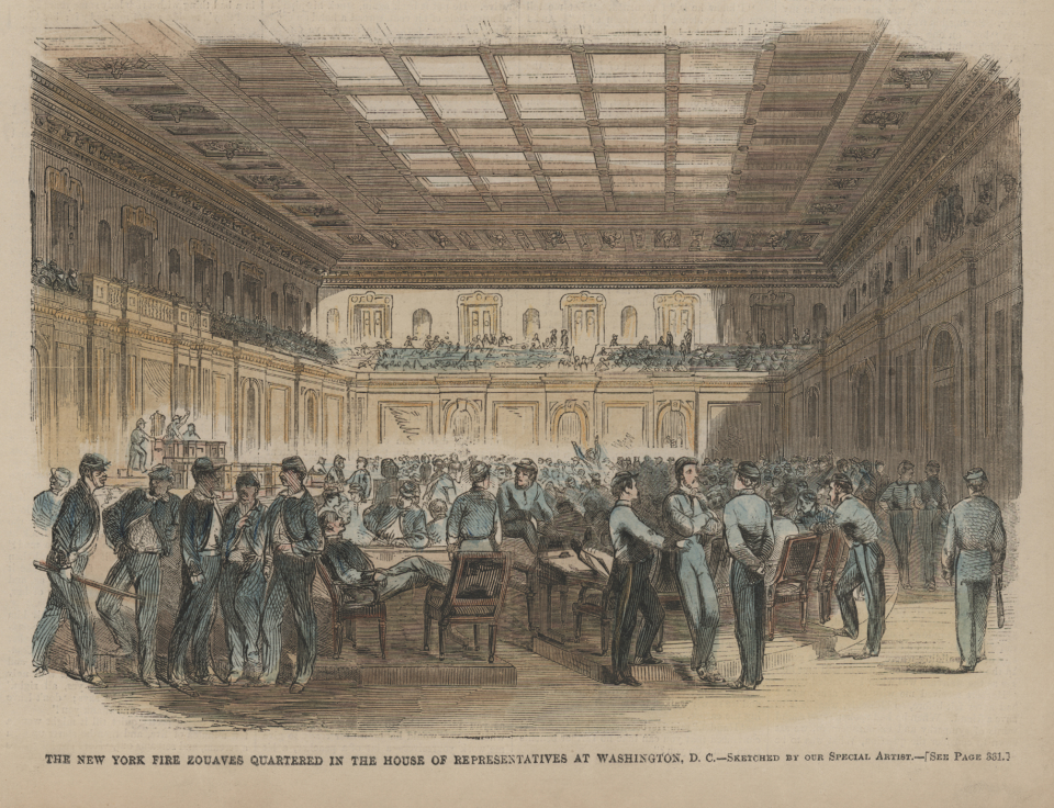 Soldiers in the House Chamber during the Civil War