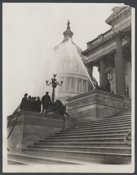 Firefighters Hose Down the Capitol in 1932