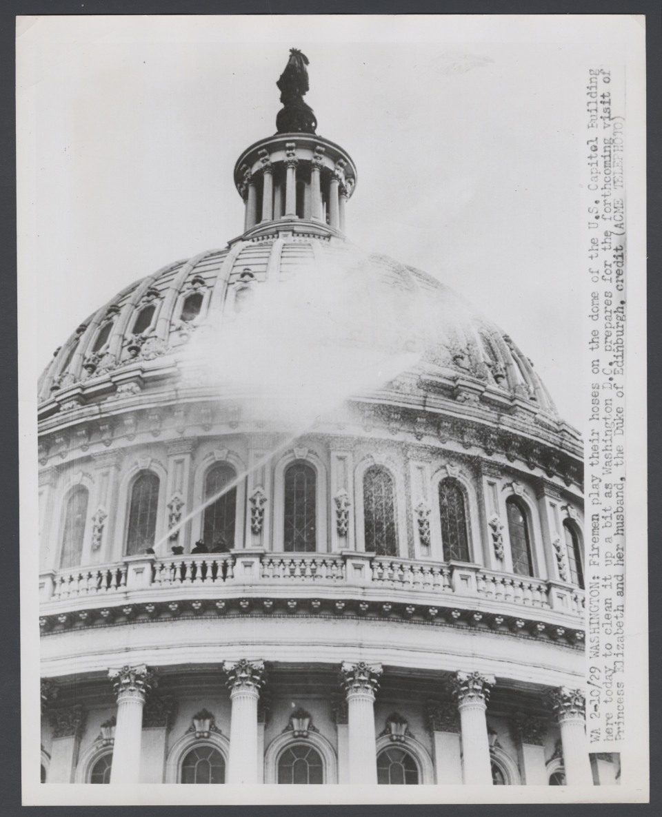 Firefighters Hose Down the Capitol in 1951