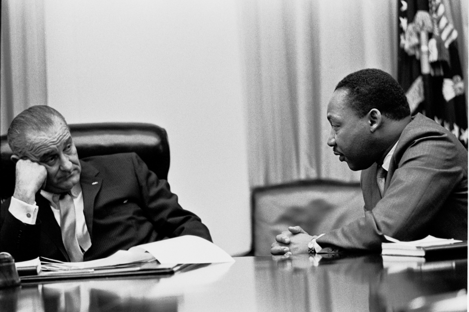 President Johnson meets with Reverend King