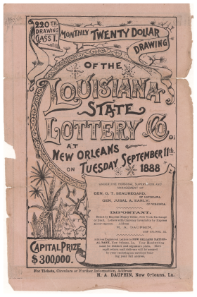Advertisement for the Louisiana State Lottery