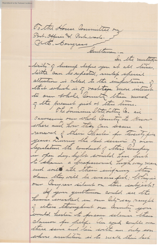 Letter from William L. James to the Committee on Post Office and Post Roads, page 1