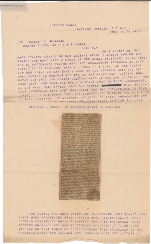 Letter from W. Van Benthuysen to Henry H. Bingham, page 1
