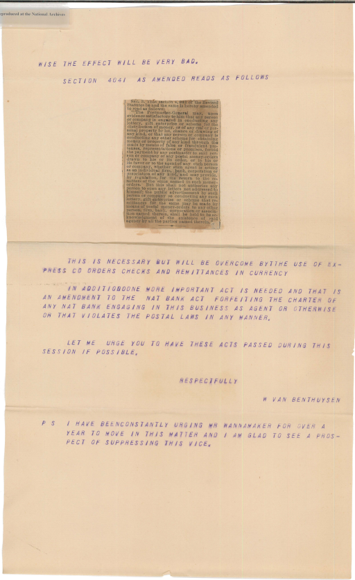 Letter from W. Van Benthuysen to Henry H. Bingham, page 3