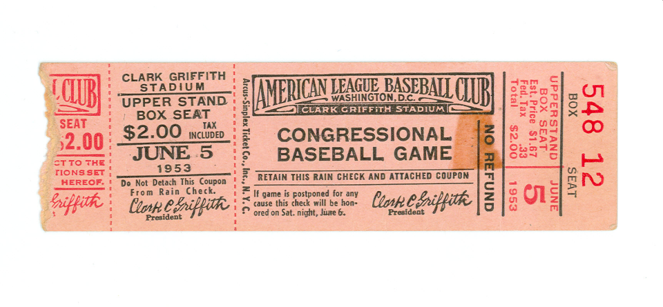1953 Congressional Baseball Ticket