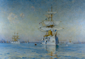 Peace (the White Squadron in Boston Harbor), by Walter Lofthouse Dean, oil on canvas, 1893