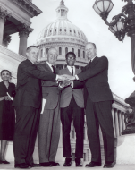 <em>Frank Mitchell with Representatives Findley, Arends, and Minority Leader Ford</em>