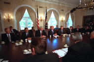 <em>Congressional Leaders Meet with the President after the Attacks</em>