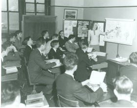Capitol Pages attending biology class, 1948