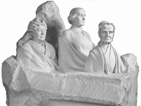 Sculptor Adelaide Johnson's Portrait Monument to Lucretia Mott, Elizabeth Cady Stanton, and Susan B. Anthony, honors three of the suffrage movement's leaders. Unveiled in 1921, the monument is featured prominently in the Rotunda of the U.S. Capitol.
