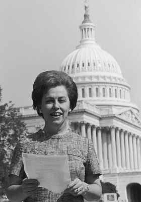 Congresswoman Martha Griffiths of Michigan stands outside the House wing of the Capitol shortly after the House passed the Equal Rights Amendment in August 1970. Griffiths used a long-shot parliamentary maneuver to dislodge ERA from the Judiciary Committee, where it had languished for years. Eventually, ERA passed the Senate and went to the states for ratification in 1972, where it failed to muster the necessary support to become a constitutional amendment.