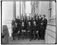The House Appropriations Committee in 1918 featuring (from left to right) future Secretary of State James F. Byrnes of South Carolina, former Speaker Joseph Cannon of Illinois, Chairman J. Swagar Sherley of Kentucky, future Speaker Frederick Gillett of Massachusetts, future Secretary of War James W. Good of Iowa, and future Speaker Joseph Byrns of Tennessee.