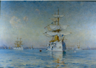 The Portrait of Peace (The White Squadron in Boston Harbor)
