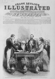 Samuel Morse using the telegraph in New York City