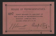 Gallery Pass to the 1913 State of the Union