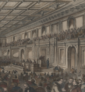 <em>The Hall of Representatives in the New Extension of the Capitol at Washington </em>(detail)