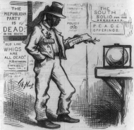 This Thomas Nast sketch from an 1877 <em>Harper's Weekly</em> made note of an African-American man voting for a Democrat. Until that time, the Republican Party was the party of most blacks.