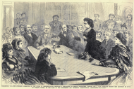 This print from 1871 shows the first instance of a woman testifying before Congress.