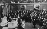 Speaker of the House, Joseph Cannon of Illinois takes the oath of office at the opening of the 59th Congress (1905—1907).