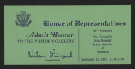 <em>Gallery Pass for a Joint Session September 12, 2001</em>