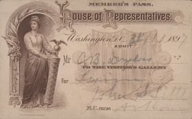 The lucky bearer of this pass could spend a Saturday watching the House in session in 1897.
