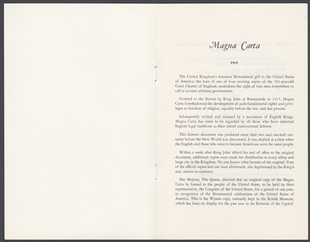 Ceremony to Mark the Return of Magna Carta to the Parliament of the United Kingdom of Great Britain and Northern Ireland