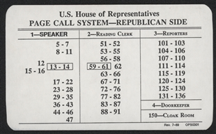 U.S. House of Representatives Page Call System Card (Republican)