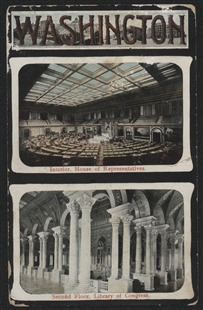 House Chamber and Library of Congress Postcard