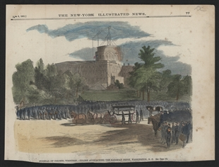 Funeral of Colonel Vosburgh - Hearse Approaching the Railroad Depot, Washington, D.C.