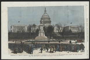 Washington, D.C. - Arrival of Military and Other Organizations to Participate in the Inauguration of the President-Elect - Passing the Peace Monument, Near the West Front of the Capitol