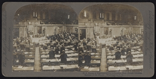 U.S. House of Representatives in Session, Hon. Joseph Cannon, Speaker of the House. Stereoview