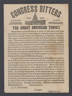 Congress Bitters Trade Card