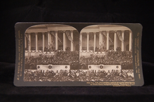 President Taft Acknowledging Applause of Crowds Before Leaving for the White House Stereoview