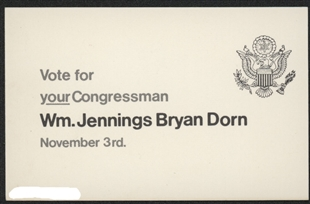William Jennings Bryan Dorn Campaign Card