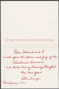Shirley Pettis Holiday Card