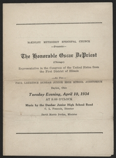 Oscar De Priest Speech Program