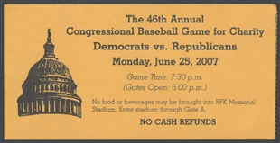 Congressional Baseball Game Ticket