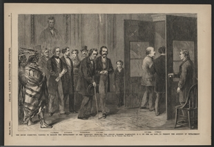 The House Committee, Elected to Manage the Impeachment of the President, Entering the Senate Chamber, Washington, D.C., on the 4th Inst., to Present the Articles of Impeachment