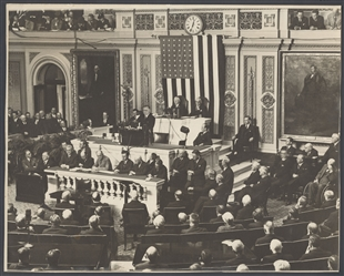 President Roosevelt Gives the Annual Address to a Joint Session of Congress