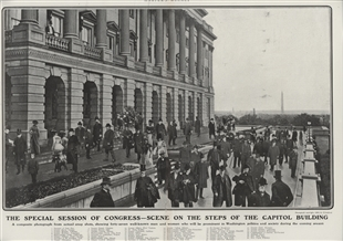 The Special Session of Congress - Scene on the Steps of the Capitol Building